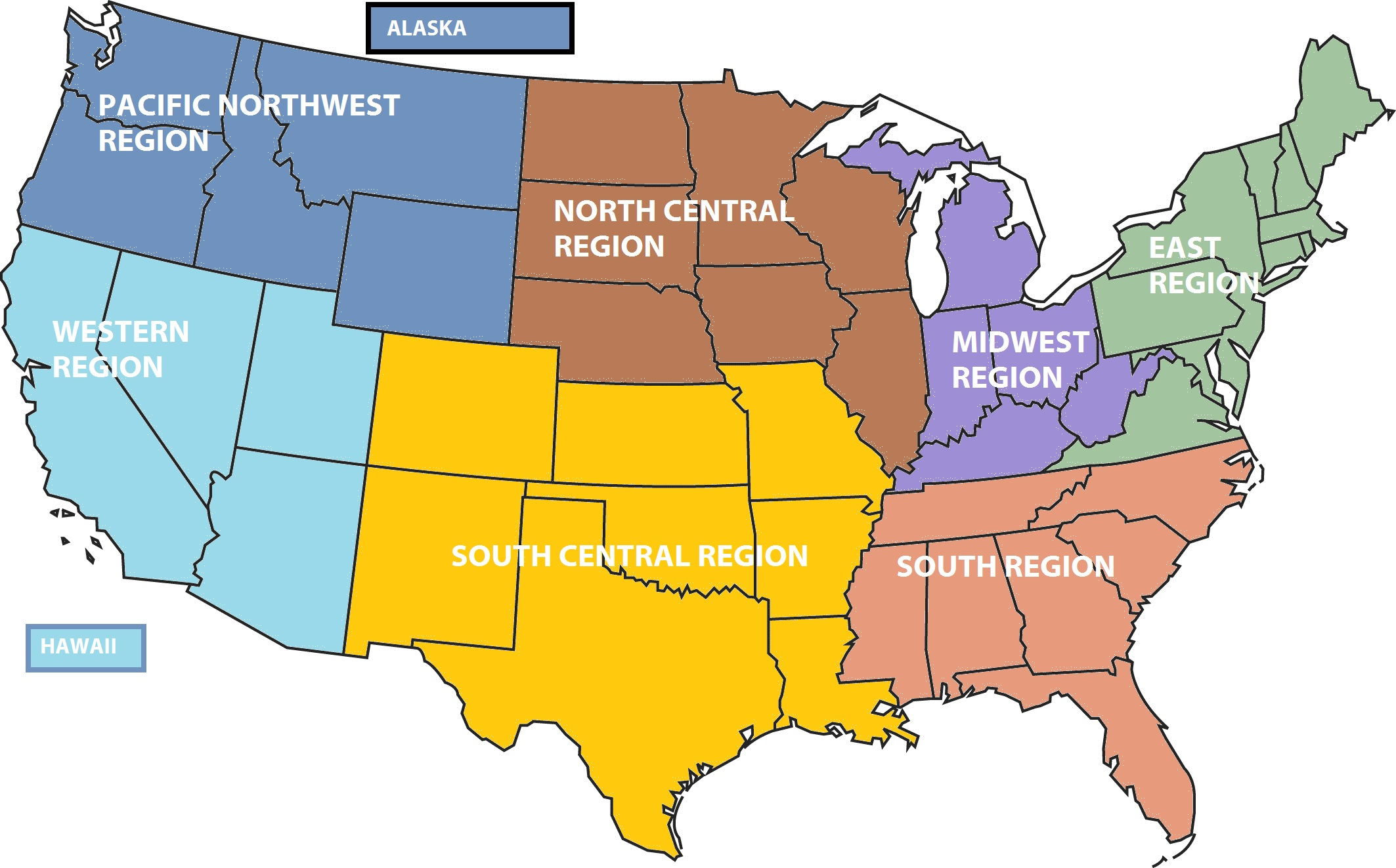 North central us map
